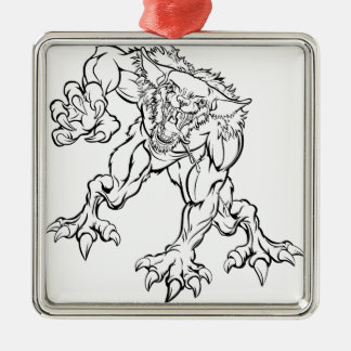 Scary Werewolf  Monster Character Metal Ornament