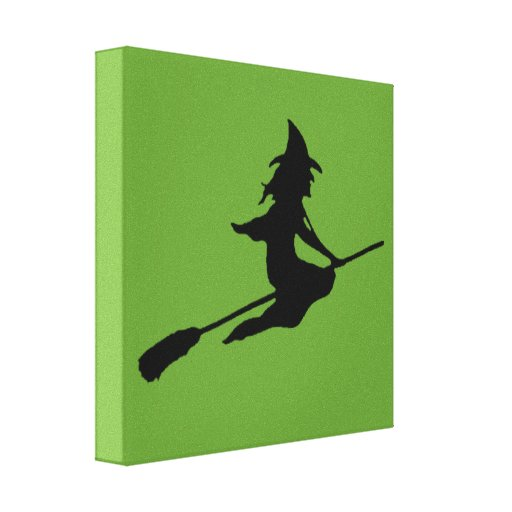 Scary Witch and Broom Canvas Prints
