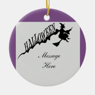 Scary Witch Riding Broom Halloween Thunder_Cove Ceramic Ornament