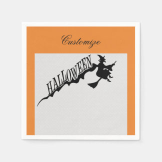 Scary Witch Riding Broom Halloween Thunder_Cove Disposable Napkin