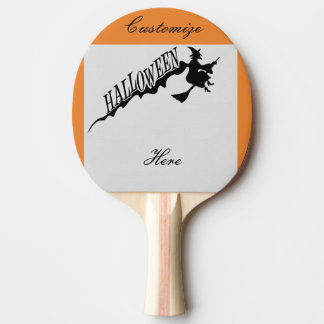 Scary Witch Riding Broom Halloween Thunder_Cove Ping Pong Paddle