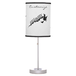 Scary Witch Riding Broom Halloween Thunder_Cove Table Lamp