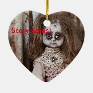 Scary Xmas Doll. Ceramic Ornament