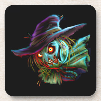 ScaryCrow Scarecrow with glowing eyes Coasters