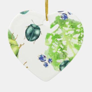 Scatter Beetle Ceramic Heart Ornament