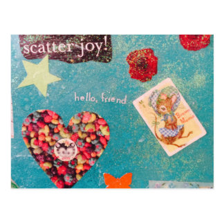 Scatter Joy! Glitter Collage Decorates Things Postcard