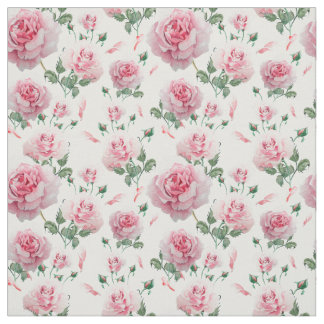 Scatter Pink Roses Pattern Fabric
