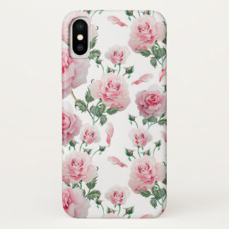 Scatter Pink Roses Pattern iPhone X Case