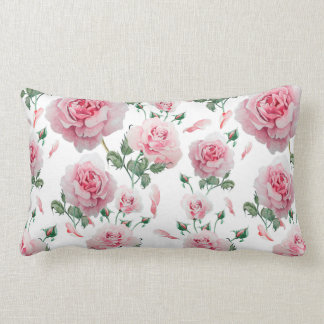 Scatter Pink Roses Pattern Lumbar Pillow