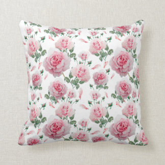 Scatter Pink Roses Pattern Throw Pillow