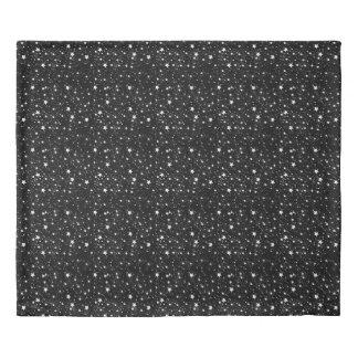 Scattered Black and White Stars Duvet Cover