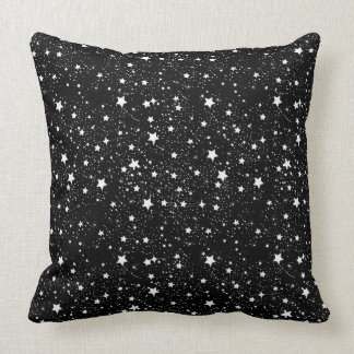 Scattered Black and White Stars Throw Pillow