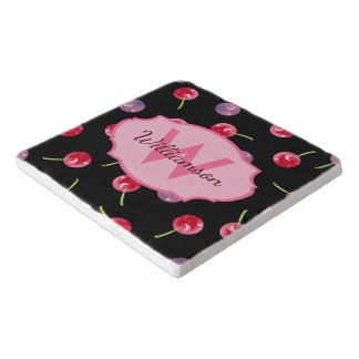 Scattered Cherries Watercolor Personalized Trivet
