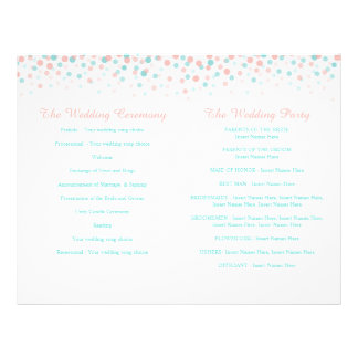 Scattered confetti dots coral teal wedding program personalized flyer