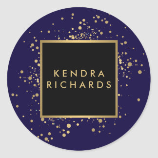 Scattered Faux Gold Confetti on Modern Blue Round Sticker