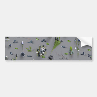 Scattered Flowers Black Bumper Sticker