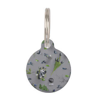 Scattered Flowers Black Pet ID Tag