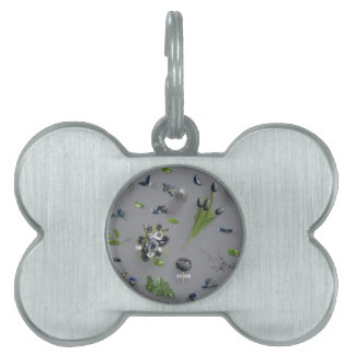 Scattered Flowers Black Pet ID Tags