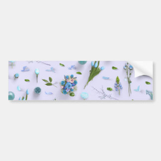 Scattered Flowers Blue Bumper Sticker