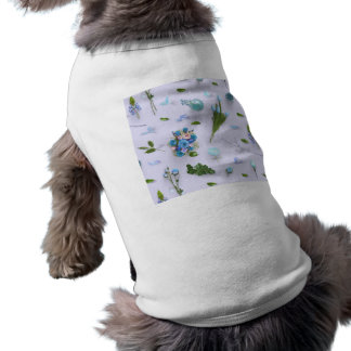 Scattered Flowers Blue Pet T Shirt