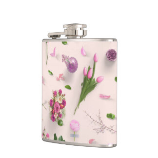 Scattered Flowers Pink Hip Flask