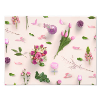 Scattered Flowers Pink Photographic Print