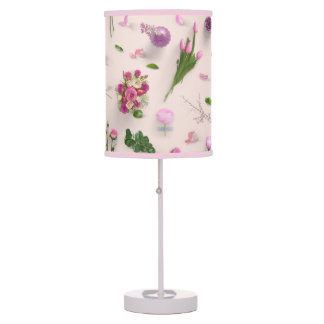 Scattered Flowers Pink Table Lamp