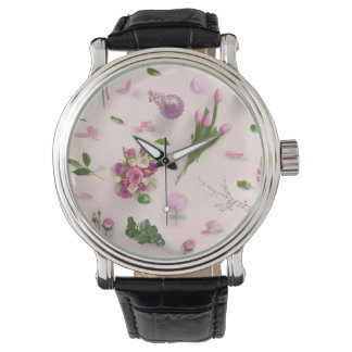 Scattered Flowers Pink Watch