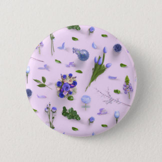 Scattered Flowers Purple 2 Inch Round Button