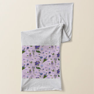 Scattered Flowers Purple Scarf