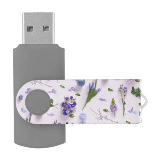 Scattered Flowers Purple USB Flash Drive