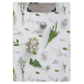 Scattered Flowers White Clipboard