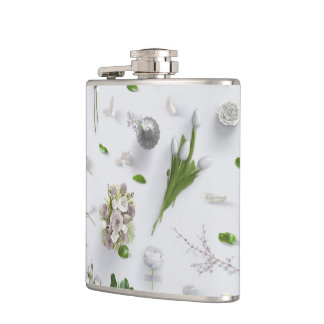 Scattered Flowers White Hip Flask