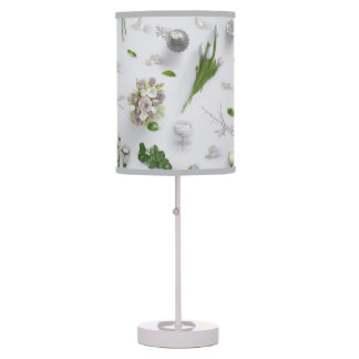 Scattered Flowers White Table Lamp
