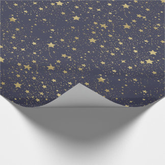 Scattered Gold Navy Blue Stars