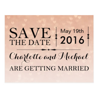 Scattered Hearts Dusty Rose Ombre Save the Date Postcard