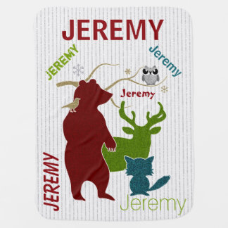 Scattered Name Woodland Animals Baby Blanket