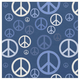 Scattered Peace Signs Blue SPST Fabric