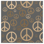 Scattered Peace Signs Gold SPST Fabric