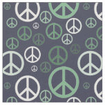 Scattered Peace Signs Green SPST Fabric
