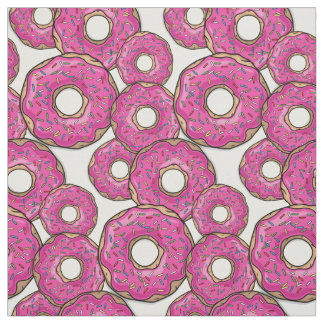 Scattered Pink Doughnut Joy White Fabric