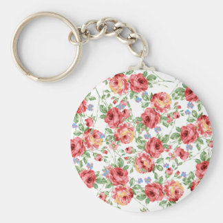 Scattered Roses by BobCatDesign Basic Round Button Keychain