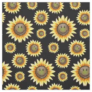 Scattered Smiling Sunflower Fabric