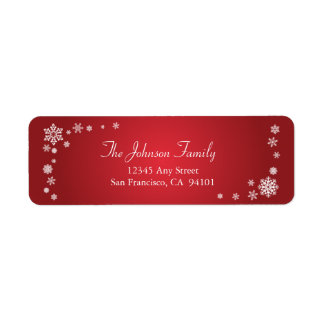 Scattered Snowflakes Holiday Address Labels red
