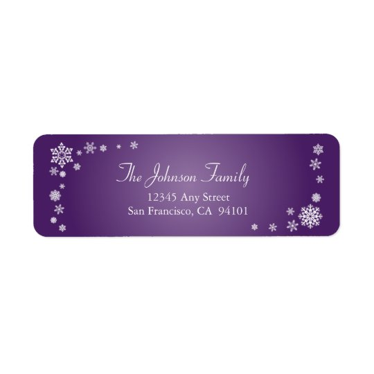 Scattered Snowflakes Holiday Labels (purple)
