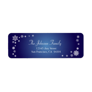 Scattered Snowflakes Holiday Labels sapphire