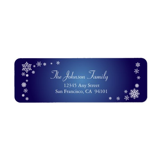 Scattered Snowflakes Holiday Labels (sapphire)