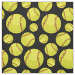 Scattered Softball Balls Black Fabric