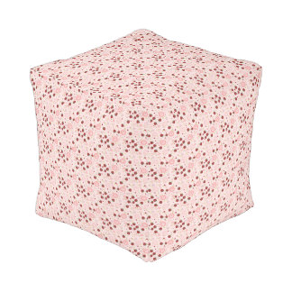 Scattered Strawberry Swirl Pattern Pouf