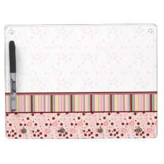Scattered Strawberry Swirl Pattern With Border Dry Erase Whiteboard